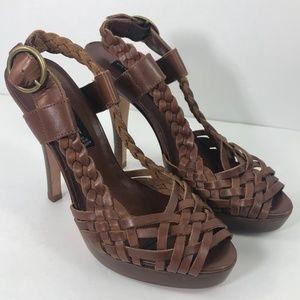 Twisted Braided Brown Leather Platform High Heel 7